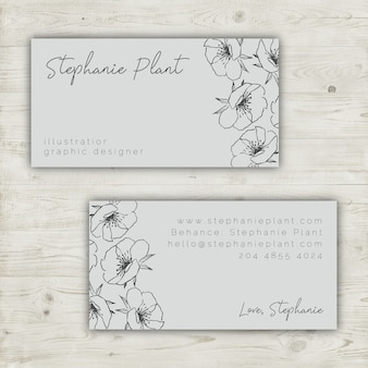 Floral business card template with hand drawn elements