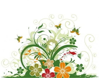 floral butterfly decorative abstract vector background