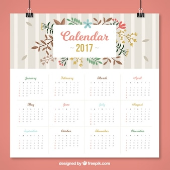Floral calendar with grey stripes in flat design