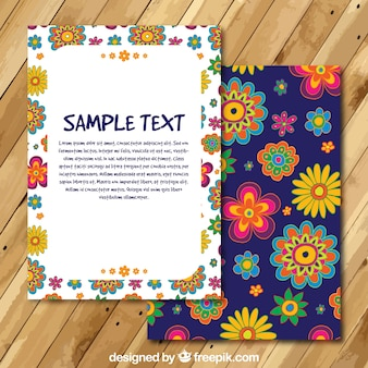 Floral card template in hippie style