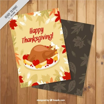 Floral card with thanksgiving turkey