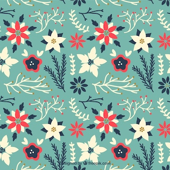 Floral christmas pattern in cute style