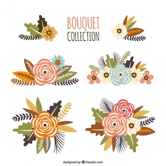 Floral collection with colorful flowers