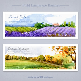 Floral countrysides in watercolor