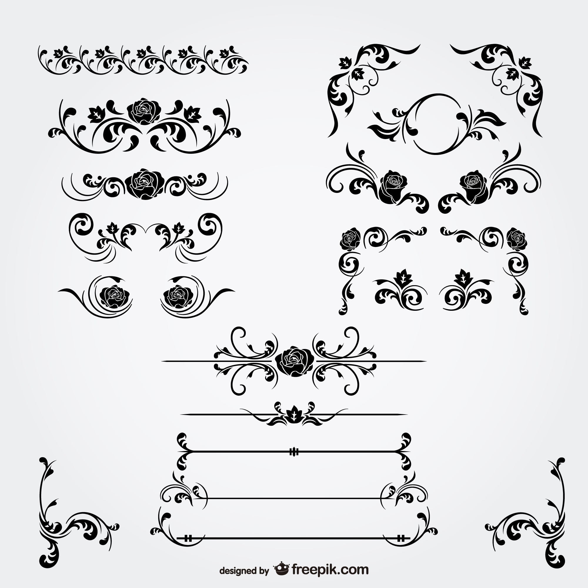 Floral decorations and page dividers