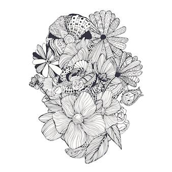 Floral design hand drawn