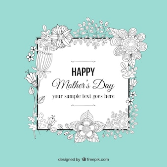 Floral doodle mothers day greeting