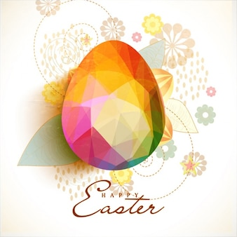 Floral easter background with colorful polygonal egg