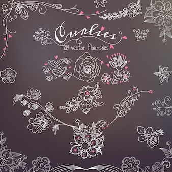 Floral elements drawn on a blackboard