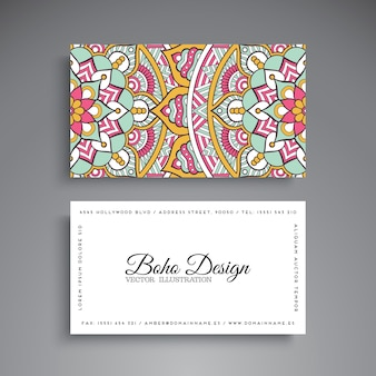 Floral ethnic business card with mandala decoration