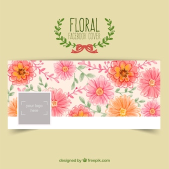 Floral facebook cover in hand painted style