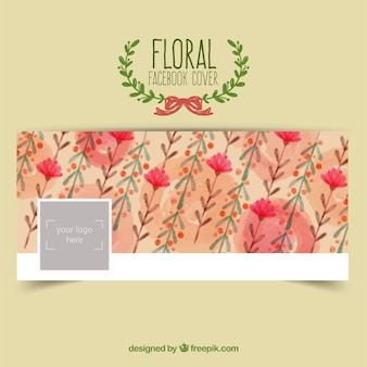 Floral facebook cover in watercolor style