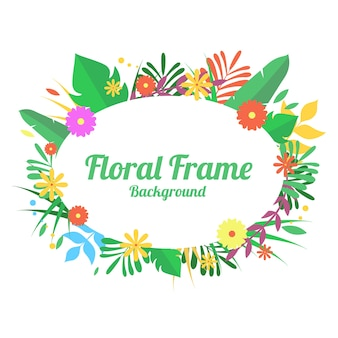 Floral frame background, flat style