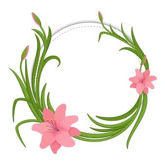 花のフレーム、花や水彩で作られた葉。