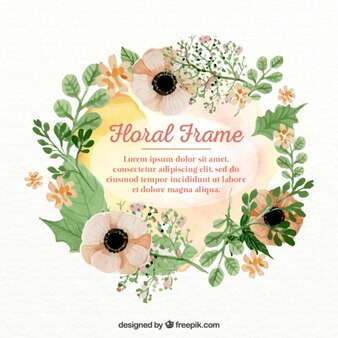 Floral frame in watercolor effect