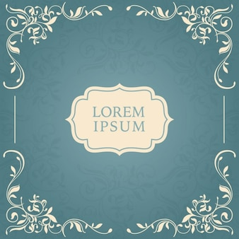 Floral frame on blue background