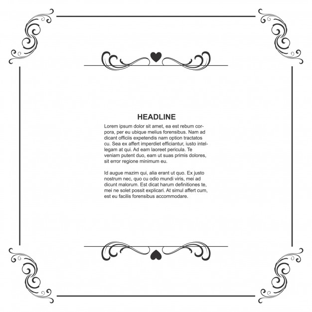 Floral frame template with space for text