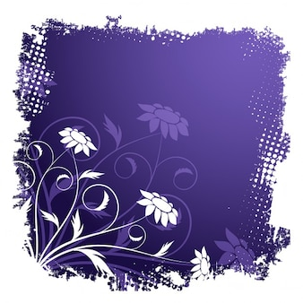 Floral frame with a purple background