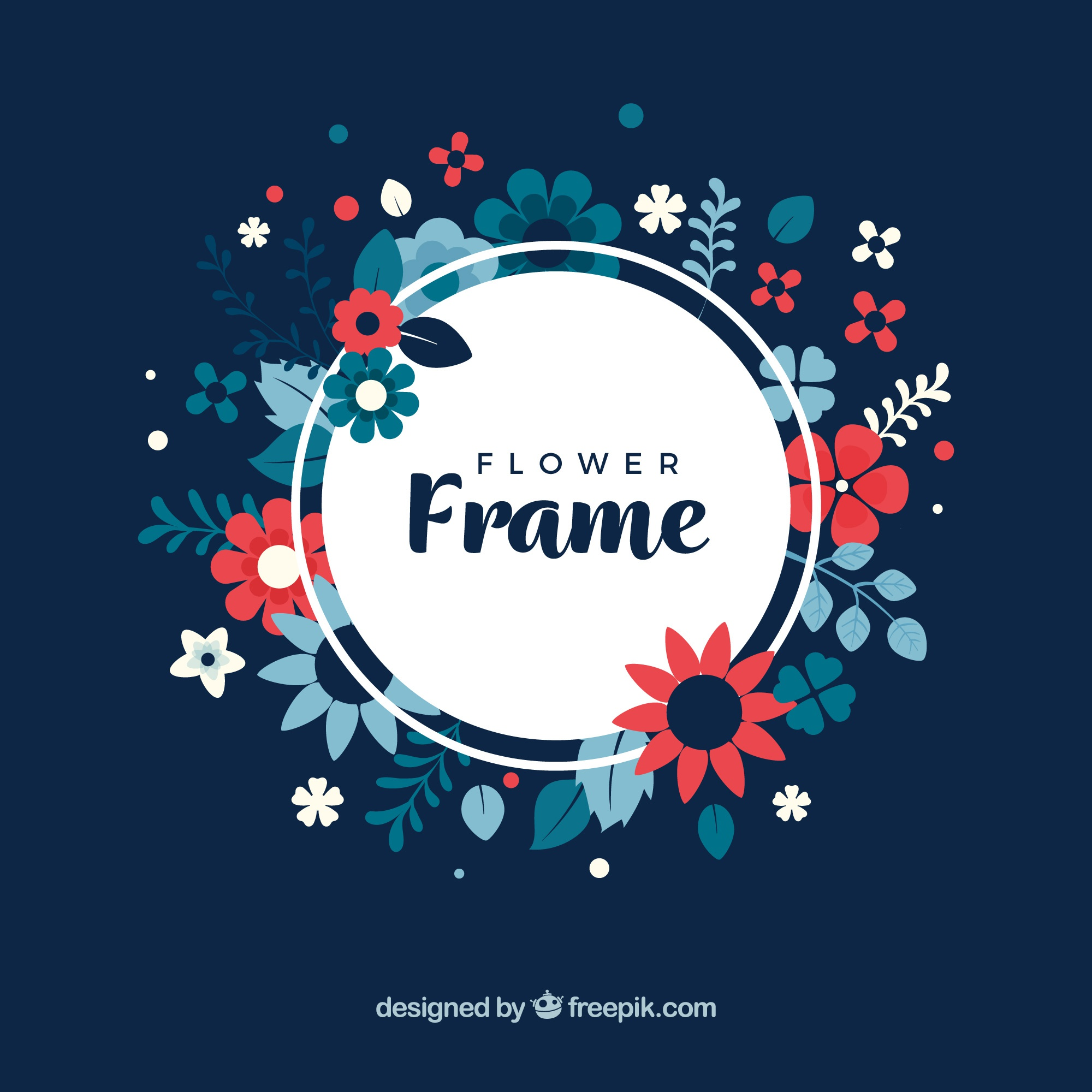 Floral frame with dark background