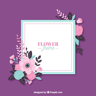 Floral frame with modern flowers