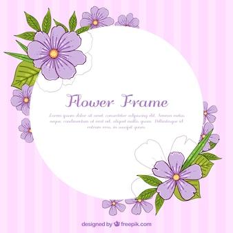 Floral frame with violet flowers