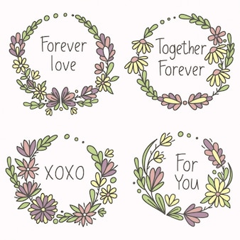 Floral frames, hand drawn