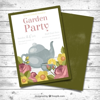 Floral garden party card with a teapot