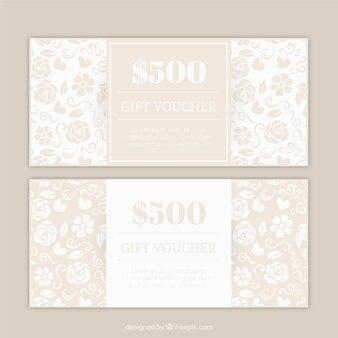Floral gift voucher set in beige color