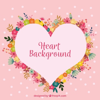 Floral heart frame background