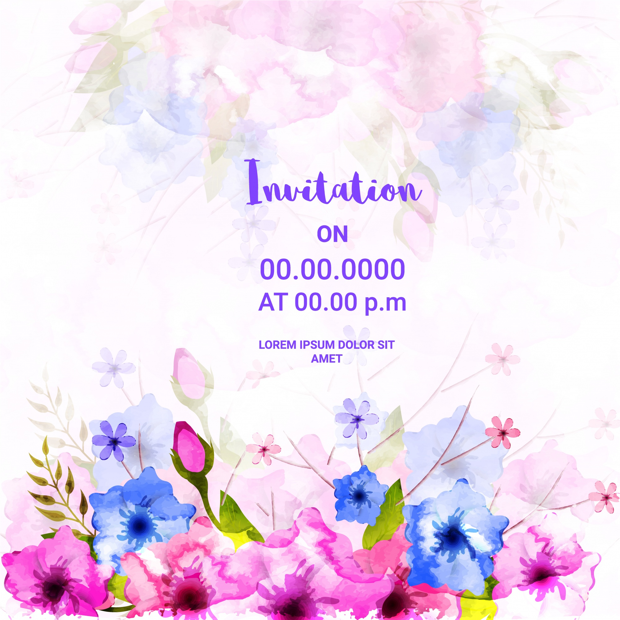 Floral Invitation Card with watercolor flowers.
