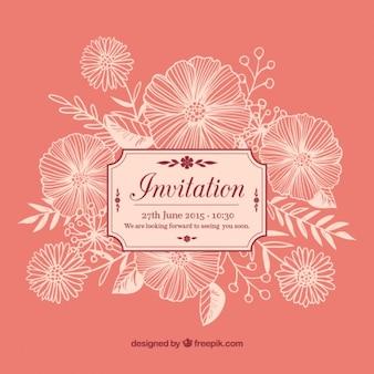 Floral invitation in retro style
