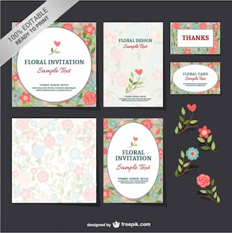 Floral invitations and thanking cards
