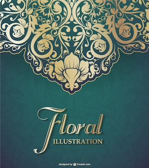 Floral lace background in golden and green tones