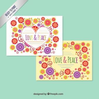 Floral love and peace card