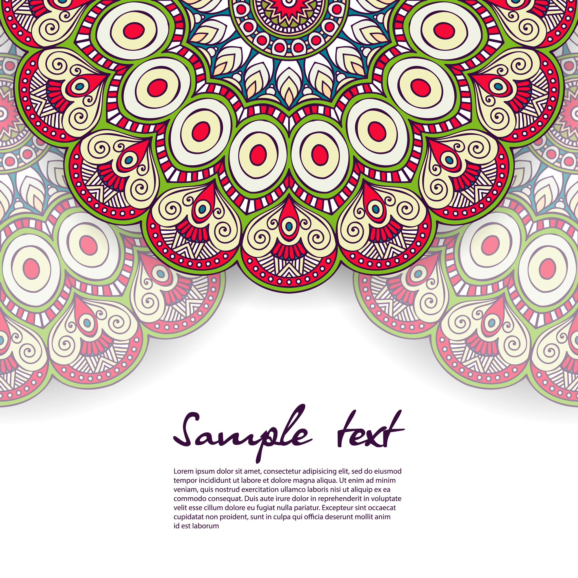 Floral mandala design with text template