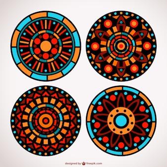 Floral mosaic ornaments set