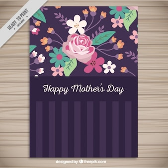 Floral Mother's Day card in purple tones