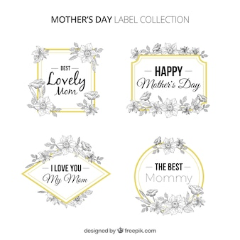Floral mother's day label collection