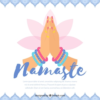 Floral namaste greeting background