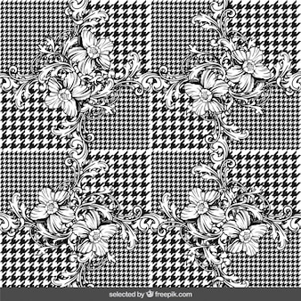 Floral ornaments on houndstooth background