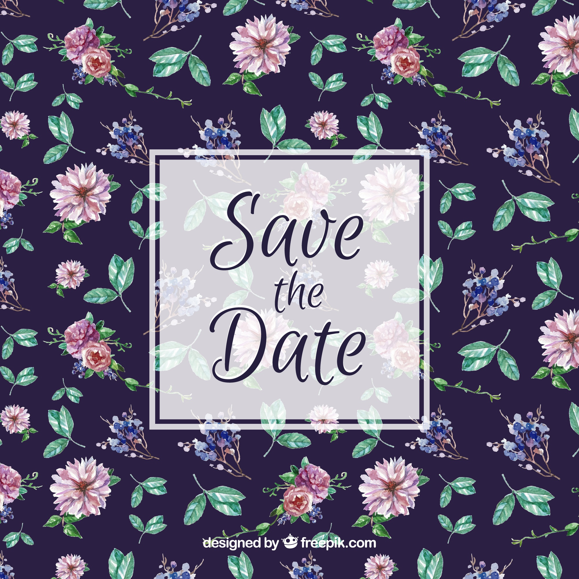 Floral pattern for wedding invitation