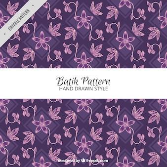 Floral pattern hand drawn in batik style