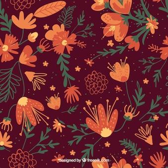 Floral pattern in orange tones