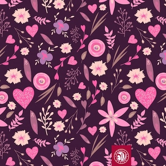 Floral pattern in pink tones