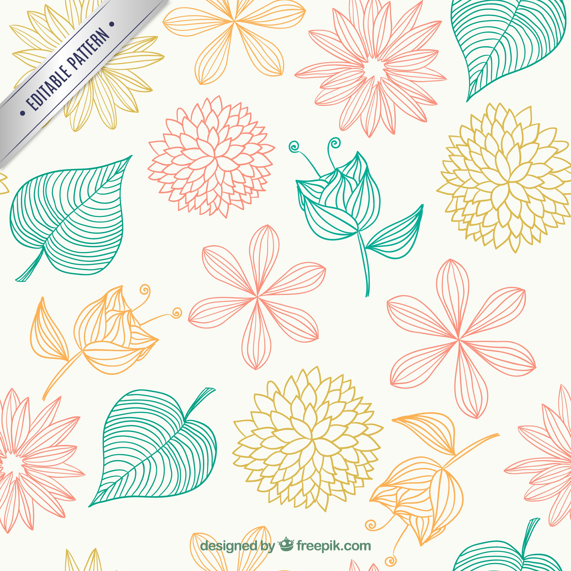 Floral pattern in sketchy style