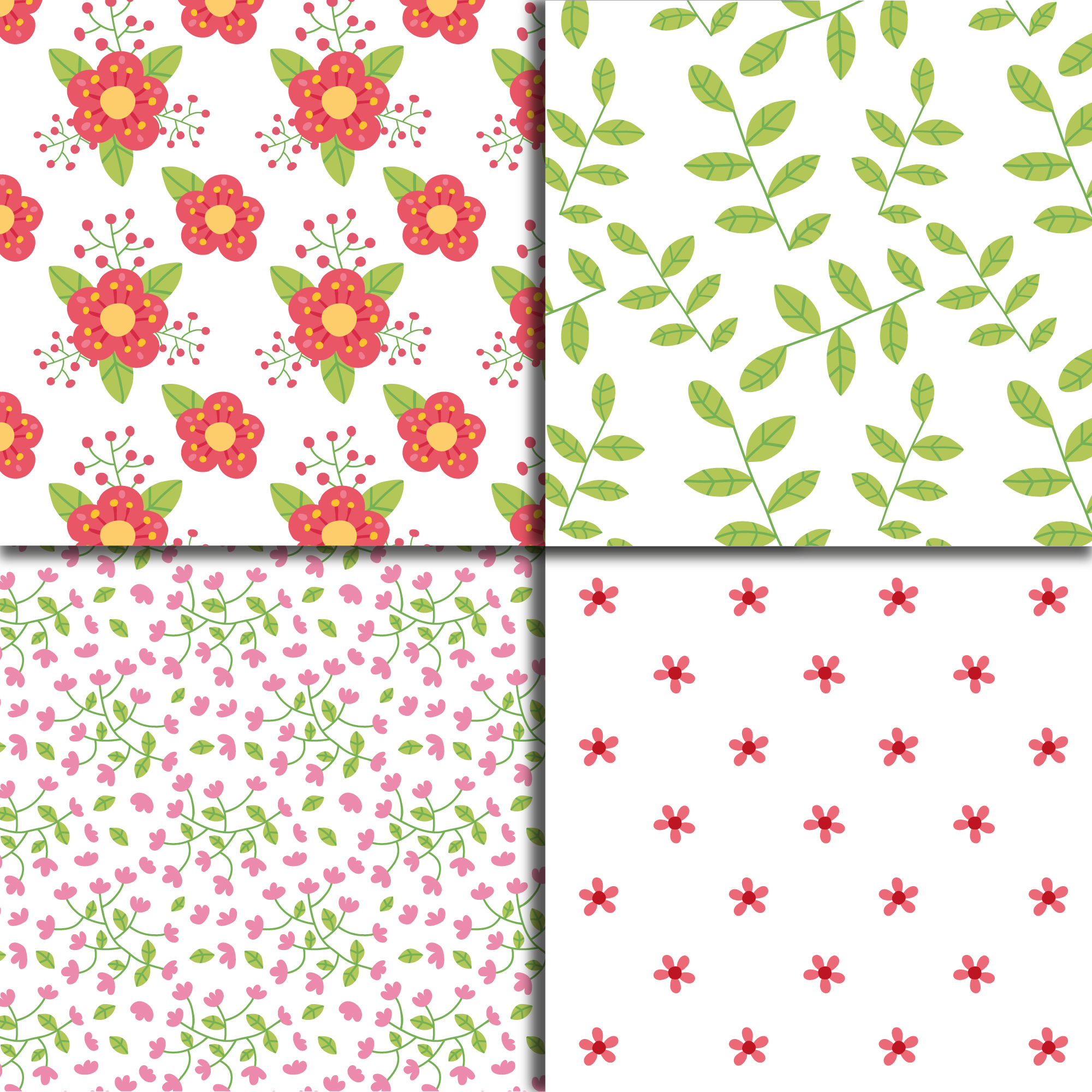 Floral pattern on white background collection