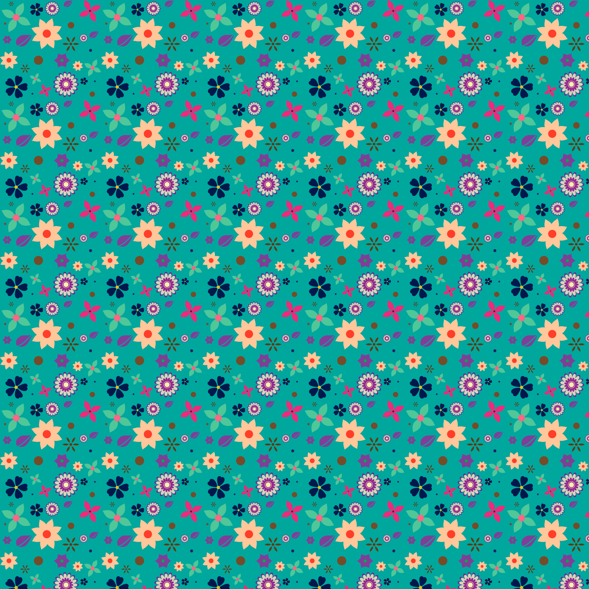 Floral pattern with aquamarine background