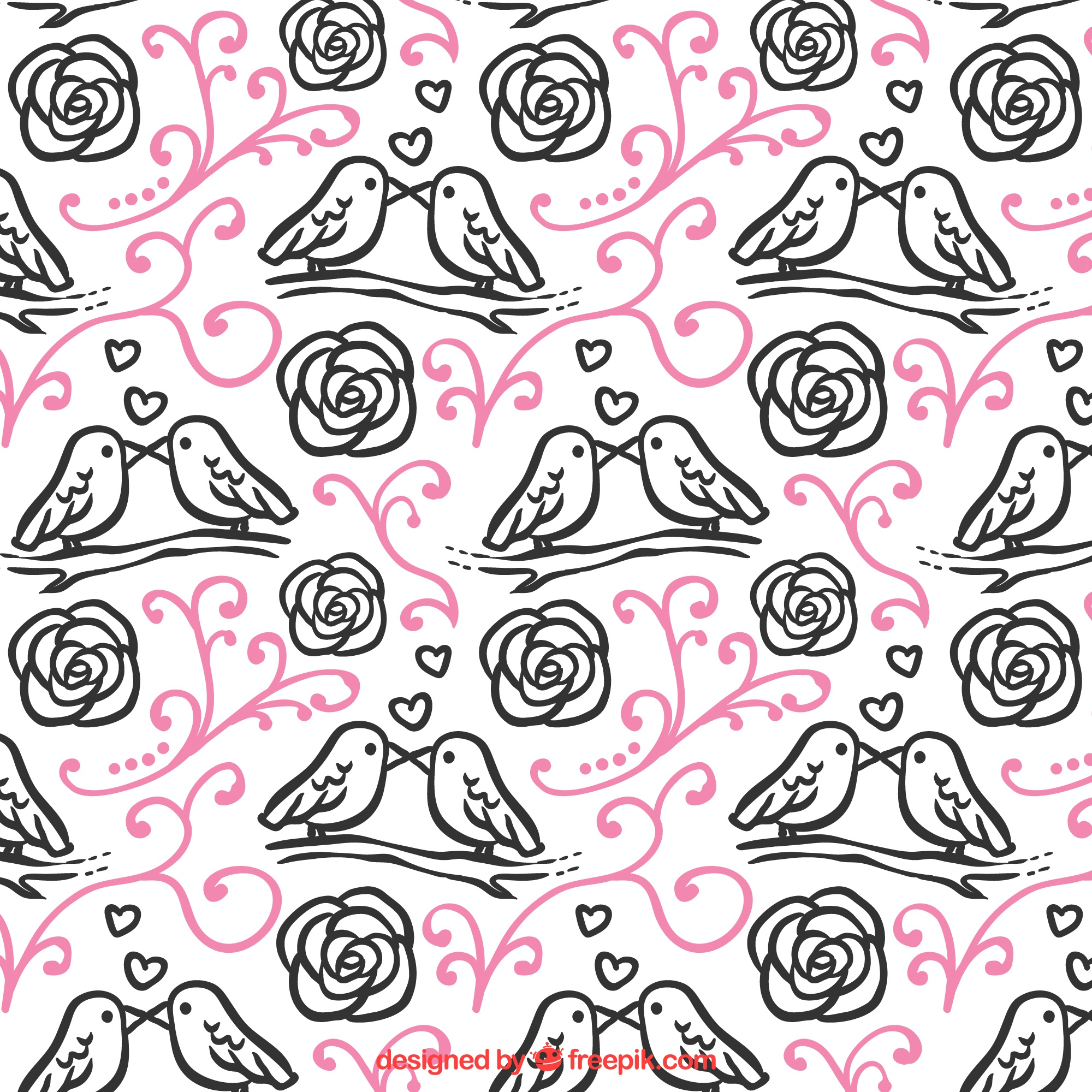 Floral pattern with birds for valentine's day