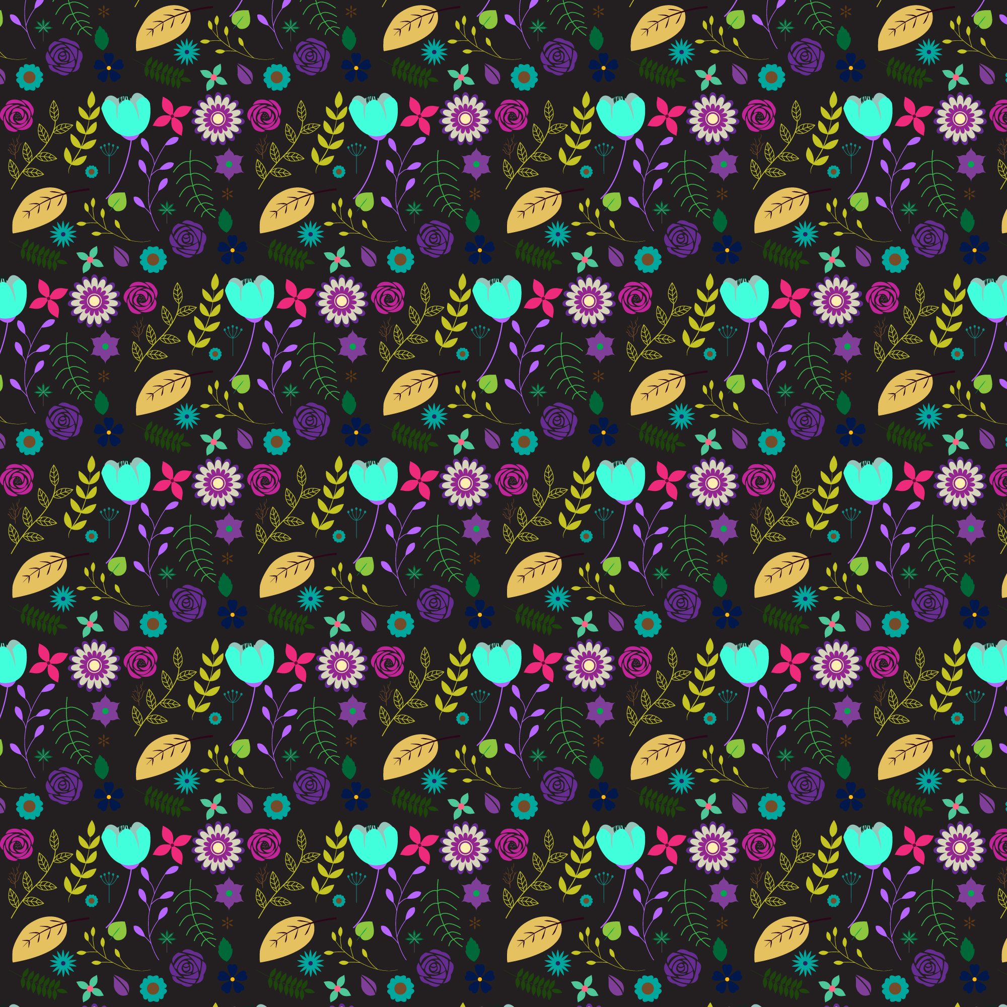 Floral pattern with black background