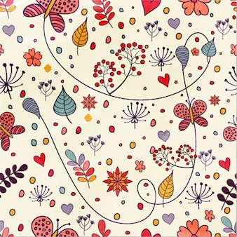 Floral pattern with butterflies